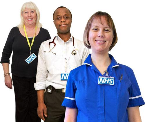 A nurse, a doctor and a lady NHS worker